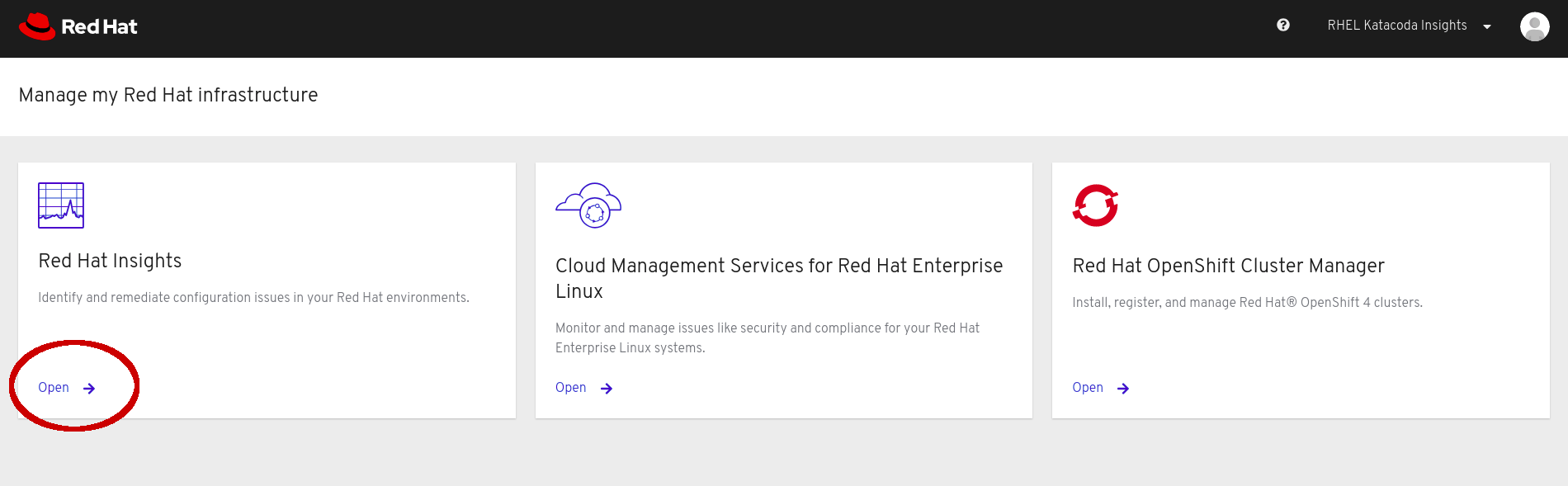 cloud.redhat.com Homepage